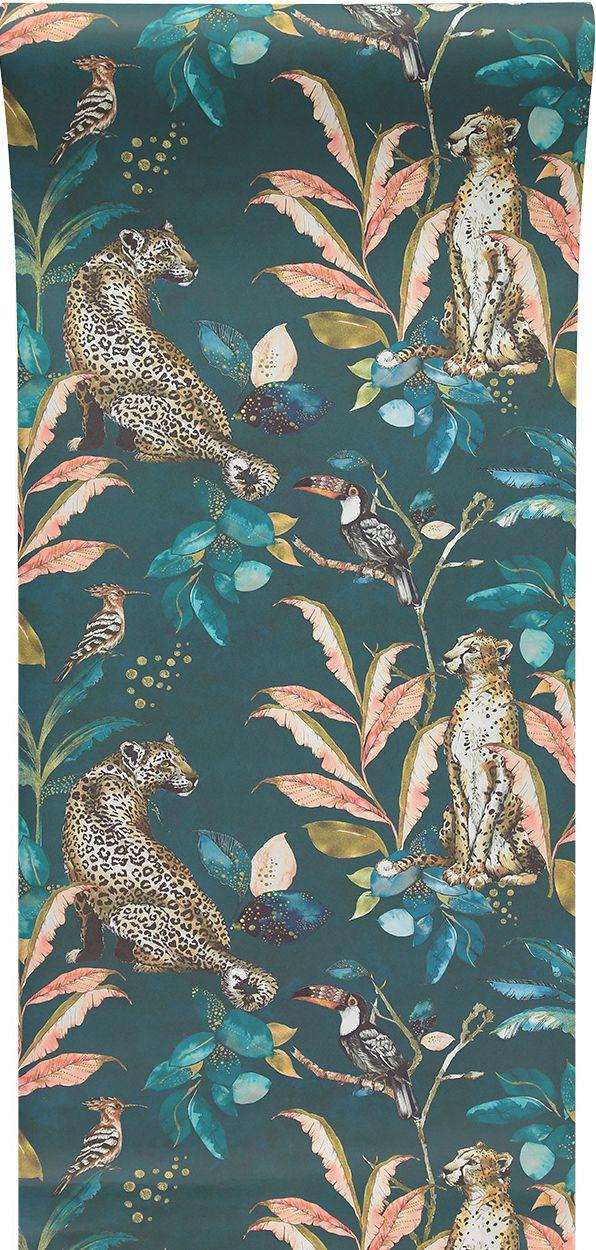 Laura Hyden \'Cheetah Leopard\' wallpaper Teal designed for ...