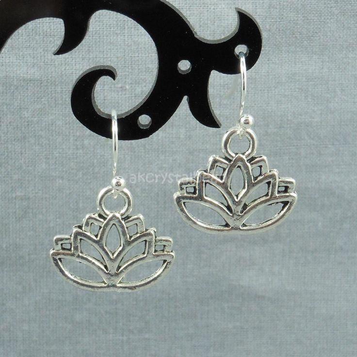 Lotus flower charm antique silver earrings MTP0006