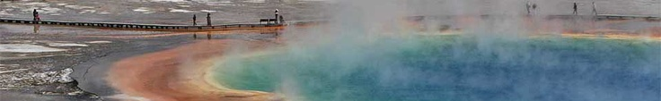 Orange, blue, and yellow colors of Grand Prismatic are striking.    Things to do in Yellowstone