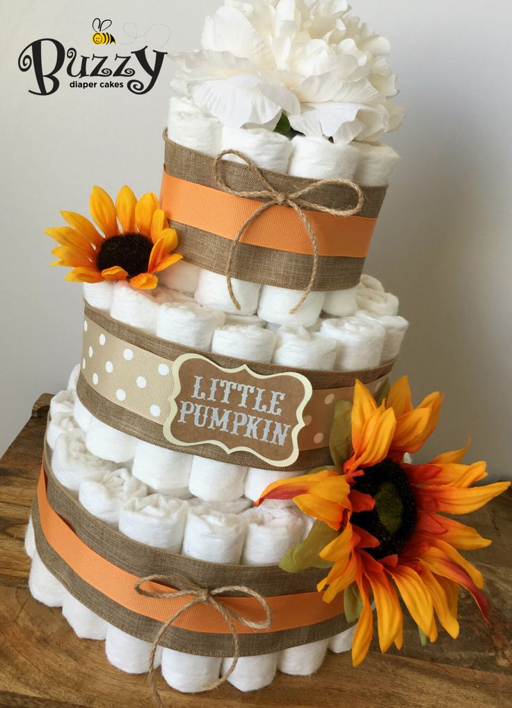 Fall Diaper Cake, Orange Sunflower Baby Shower, Gender Neutral Diaper Cake, Burlap Diaper Cake, Burlap and Gold Shower Centerpiece by BuzzyDiaperCakes on Etsy https://www.etsy.com/listing/457416450/fall-diaper-cake-orange-sunflower-baby