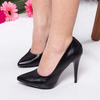 Pantofi stiletto negri din piele ecologica. Inaltimea tocului este de 11 cm
