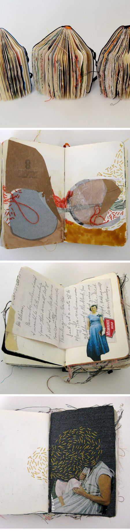 Alison Worman sketchbook - fabric, threads, paper http://alofthesun.blogspot.com/ #stitching #mixed_media #art
