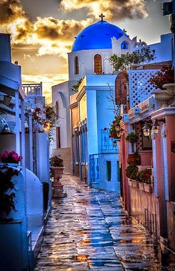 Beautiful Greek Street in Sunset - Greece