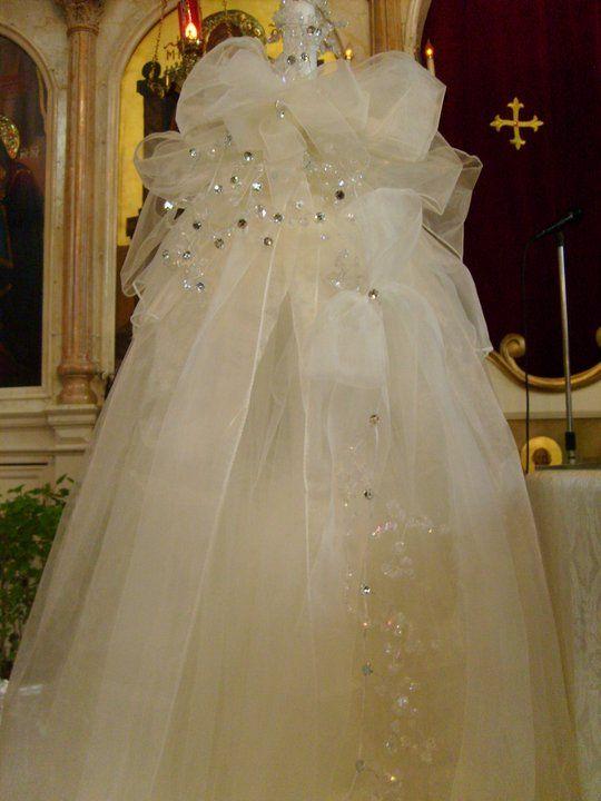 Wedding big candle with organza and crystals