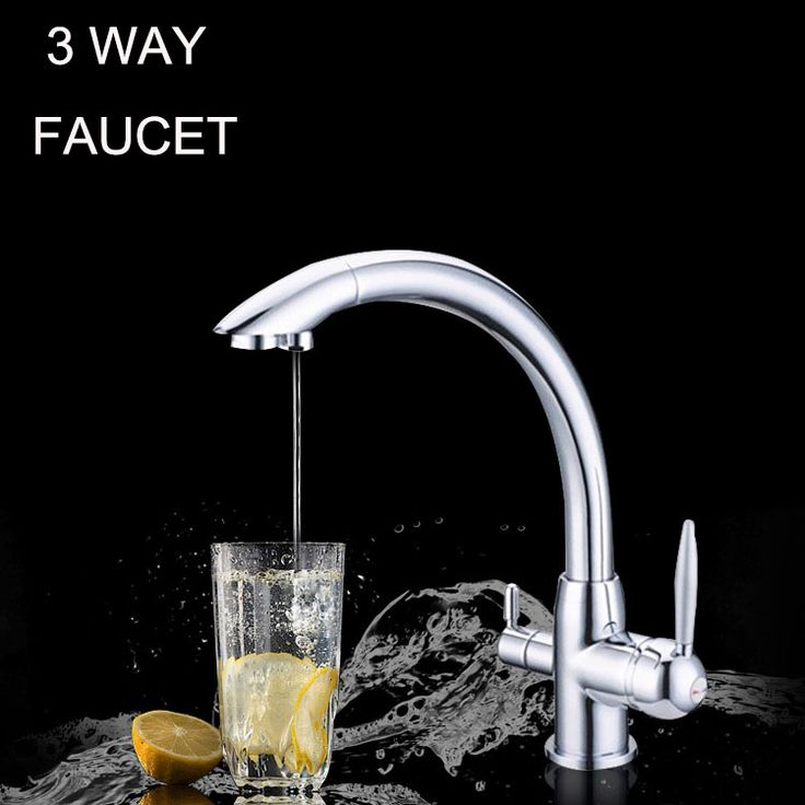 Kitchen Water Filter Faucet Chrome 100% Copper Swivel Filter Sink Tap Mixer Drinking Water 3 Way Water Filter Tap #Affiliate