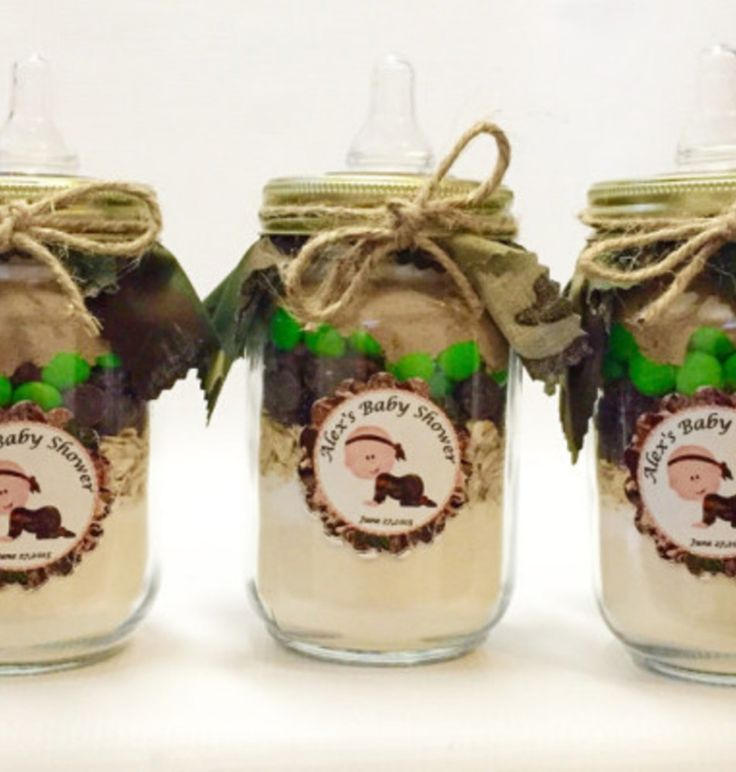 Camo baby shower idea - cute shower gifts/prizes in mason jars