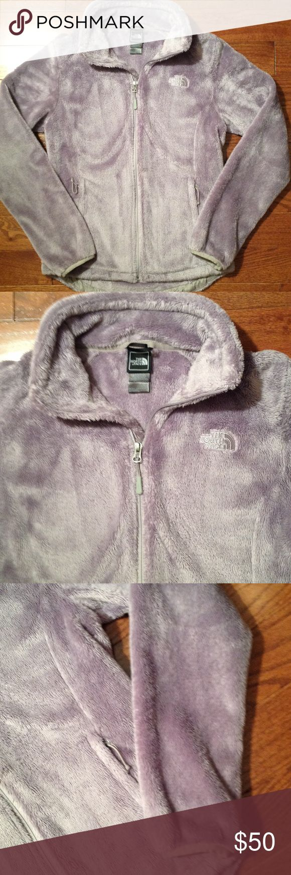 Ladies Fuzzy North Face Jacket EXCELLENT condition 2front exterior zip pockets, 2 interior compartments, 100% polyester, comes from smoke free and pet free home, in EXCELLENT Condition The North Face Jackets & Coats