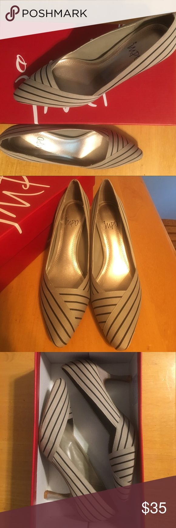 Classy, Women's Pump Shoes! Brand New!!! Striped, Taupe and Black Pump Heels. Only worn to try on. My feet grew after pregnancy so I never got to wear it. Impo Shoes Heels