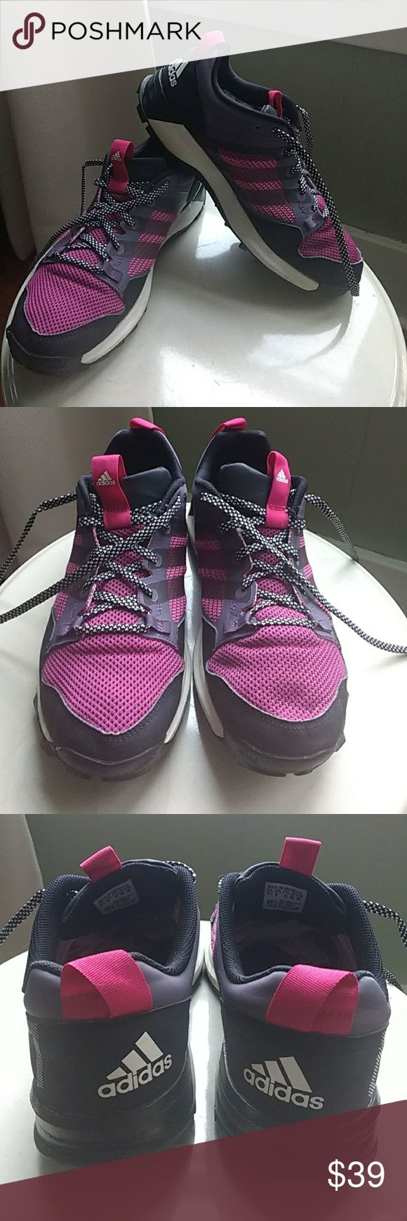 Adidas trail shoes EUC. Fuscia, purple, black and white trail runners with fun white and black print laces. Excellent traction on uneven terrain and very attractive color scheme. adidas Shoes Athletic Shoes