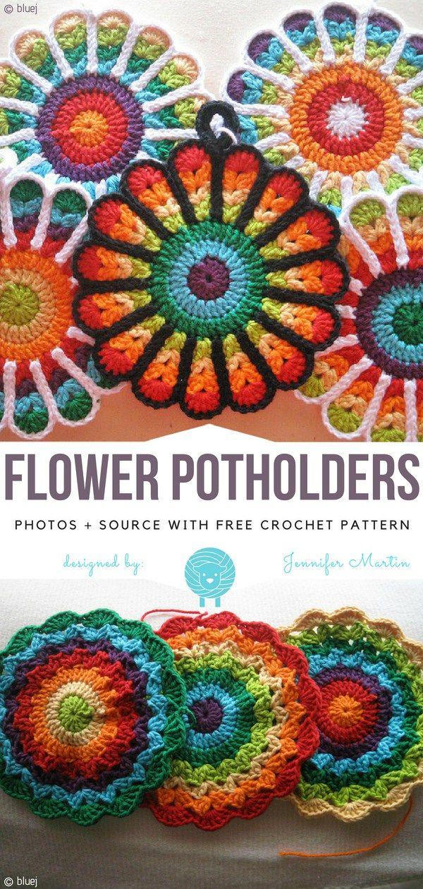 Flower Potholders Free Crochet Pattern Crocheting Pinterest
