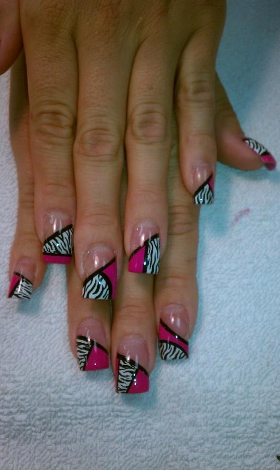 Zebra Nail Art by hand