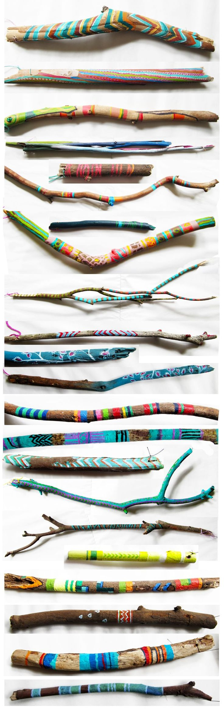 "Such a fun idea: ""I might start collecting sticks for my kids to paint this winter!"" (Painted sticks by Molly Anne.)"