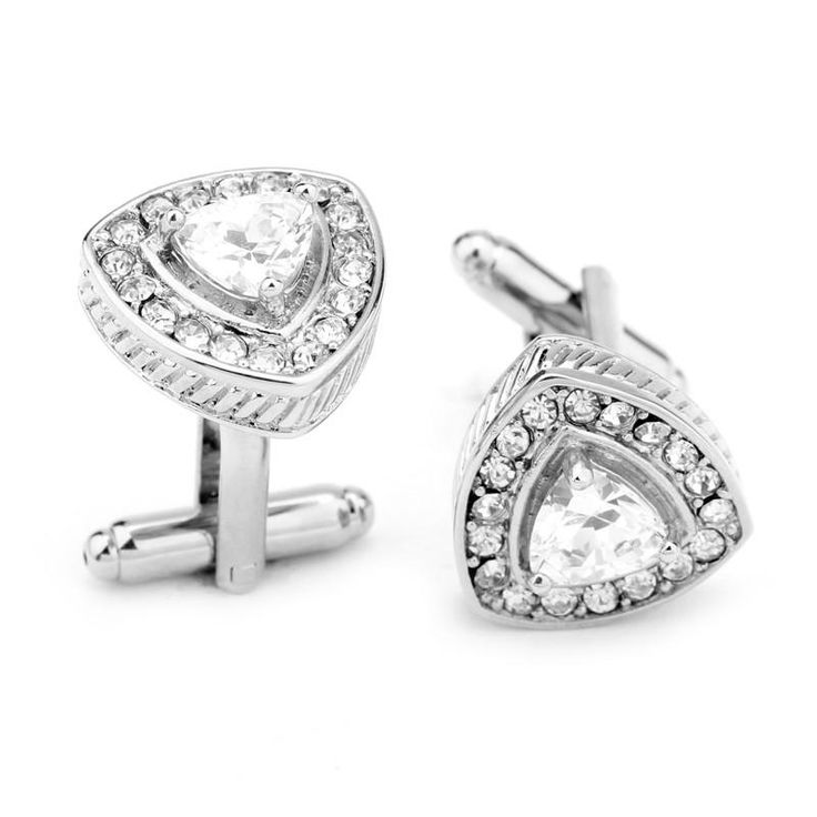 Men's Cufflinks, 18K gold plating triangle design crystal rhinestone best gift