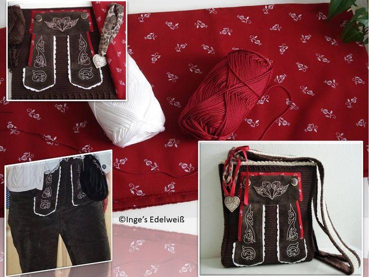 """Meine bayerische Lederhose fiel der Schere zum Opfer. Nach meiner Idee gestaltete ich die etwas andere """"Lederhosen-Trachten-Tasche"""".  Wer also eine alte Trachtenhose besitzt und Interesse an einer ausgefallenen Trachten-Tasche hat, kann mir gerne eine PN senden. www.facebook.com/IngesEdelweiss"""