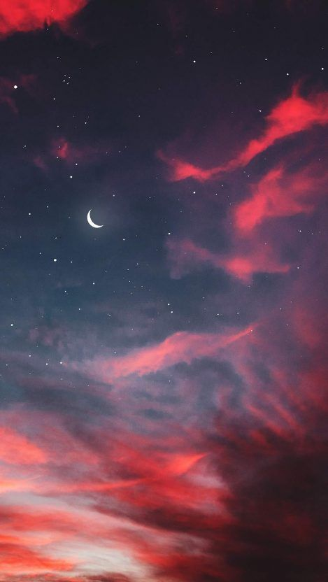 Twilight Moon Starry Sky Clouds Iphone Wallpaper Nikhil In
