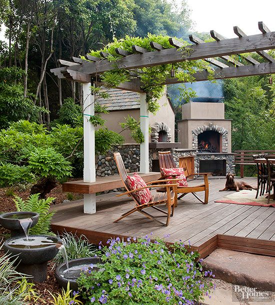 Pretty and Practical Garden Bench Ideas Patio fireplace