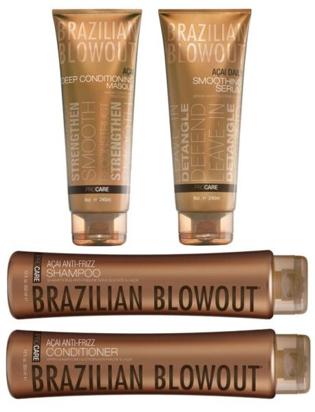There's an entire line of Brazilian Blowout after-care products designed to style hair, reduce frizz or add volume. An exclusive blend of açai berry, camu camu and annatto seed allows for a continual smoothing effect as hair is washed and styled between professional treatments. The Anti-Frizz Shampoo and Conditioner are crucial for maintaining the treatment for three months.