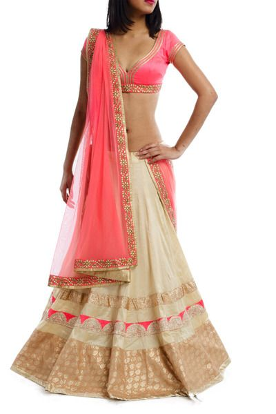 Beige Rawsilk Lehenga with Neon Pink