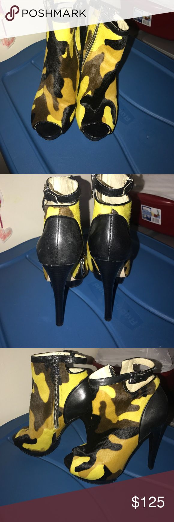 Michael Kors Lemon Camo Haircalf Leather Size : 6 It's been wore twice I originally bought it to wear to a party a couple of years ago Michael Kors Shoes Ankle Boots & Booties