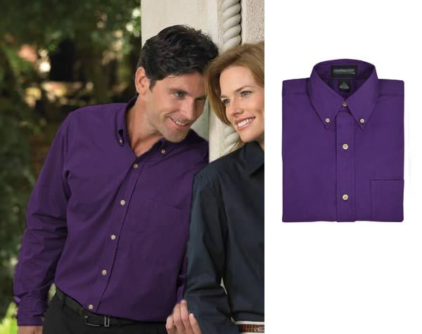 Oxford Solid Blend Purple Dress Shirt