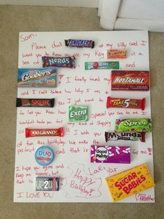 Candy card made for boyfriends birthday! Personalized meaningful gift by ines