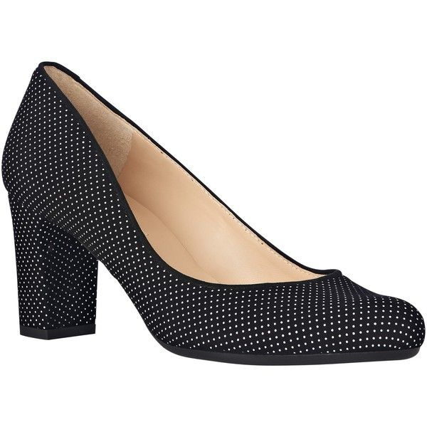 L.K. Bennett Sersha Block Heeled Court Shoes, White/Black Suede (€76) ❤ liked on Polyvore featuring shoes, pumps, black and white pumps, l.k. bennett pumps, high heel pumps, flat shoes and black and white shoes
