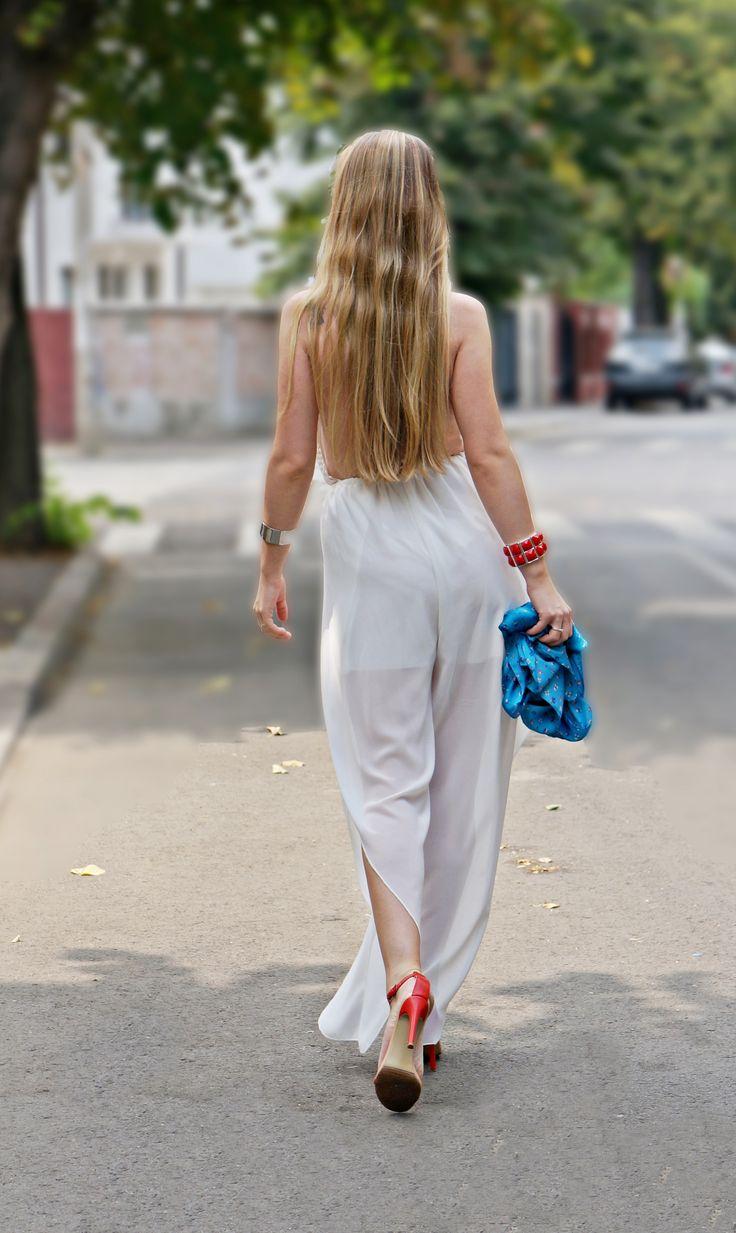 Diafan, Delicate, Feminine, Fashion, Behind, Walking, OOTD, All white, Jumpsuit