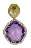 Shop this unique pendant by Vianna Brasil, with a large irregular shaped amethyst stone and a halo of diamonds set in 18k yellow gold. Perfect for a chunky gold chain or a delicate gold chain!