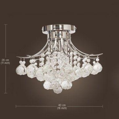 3-Licht Chrom-Finish Kristallleuchter , Mini-Art-Erröten-Einfassung Leuchte Decke für Arbeitszimmer, Esszimmer, Schlafzimmer, Wohnzimmer