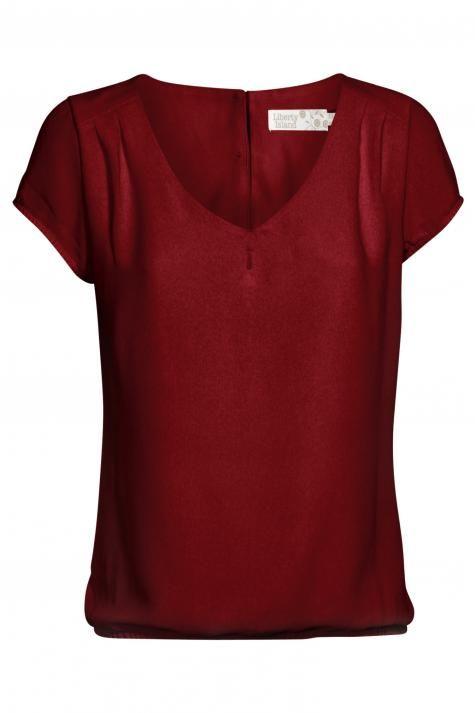 Vergroot - Donkerrode geklede bloes met v-hals