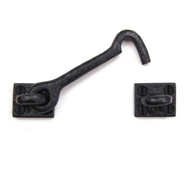 A Solid Cast Iron Cabin Hook / Latch that can be used as a decorative and useful latch for cabinets, gates, doors, garages, barns, sheds, and more. It is used to manually lock and close a variety of d