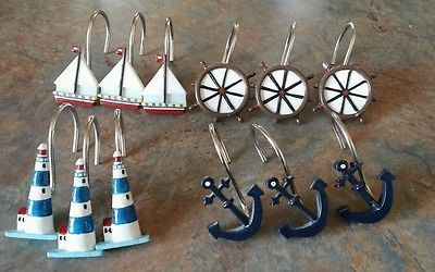 RUSTIC SAILBOAT, ANCHOR LIGHTHOUSE Shower curtain Hooks OCEAN BATHROOM Decor NEW