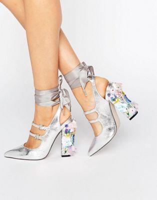 Остроносые туфли на каблуке с отделкой ASOS PETROLEUM