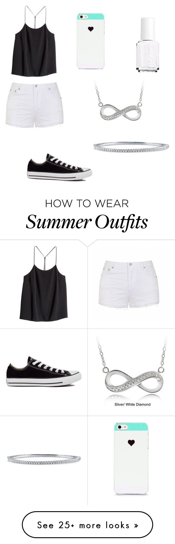 """""""Easy outfit"""" by soccer-tumblr on Polyvore featuring H&M, Ally Fashion, Converse, BlissfulCASE, Essie, DB Designs and BERRICLE"""