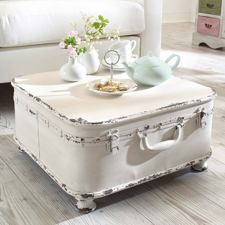"""Coffee Table Side Table """"Suitcase"""", with Storage, Shabby Chic, Metal, White                                                                                                                                                      More"""