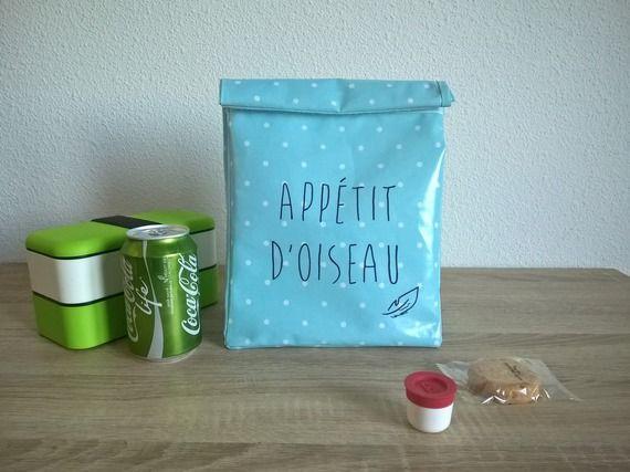 """Lunch bag / sac à goûter / sac pour repas en coton enduit """"Appétit d'oiseau"""" - personnalisable"""