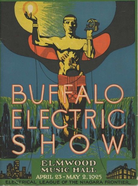 """""""Sponsored by the Buffalo General Electric Company, it proclaims: 'Electricity is cheap. Use it freely.'""""1925"""
