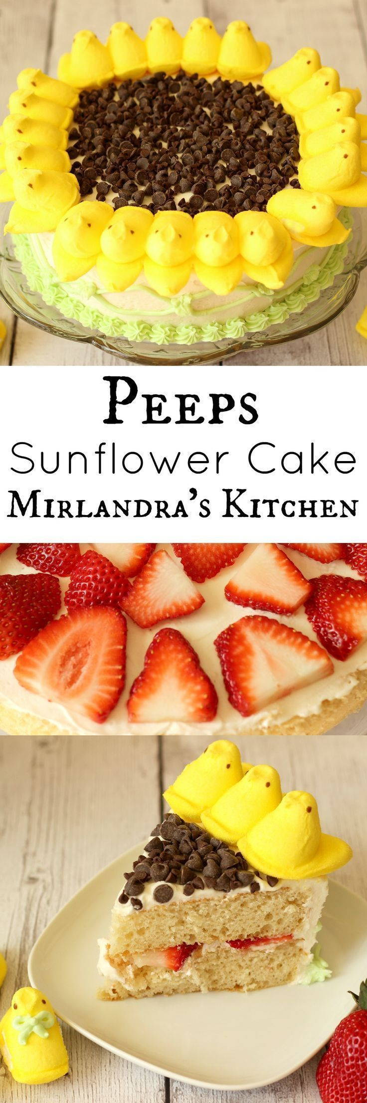 Simple instructions walk you through making a Peeps Sunflower Cake with citrus scented vanilla buttercream frosting and fresh strawberry filling.  The decorating process takes about 30 minutes if you make the frosting pattern on the side.  This is a fun s