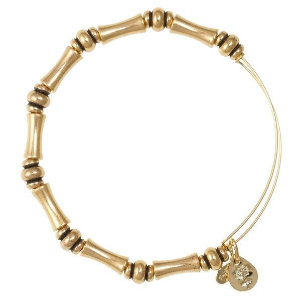 Alex and Ani Bamboo Beaded Bangle In Russian Gold