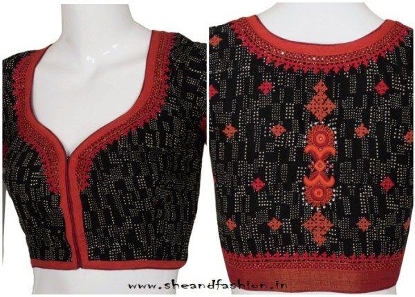 Simple blouse back neck designs for cotton sarees