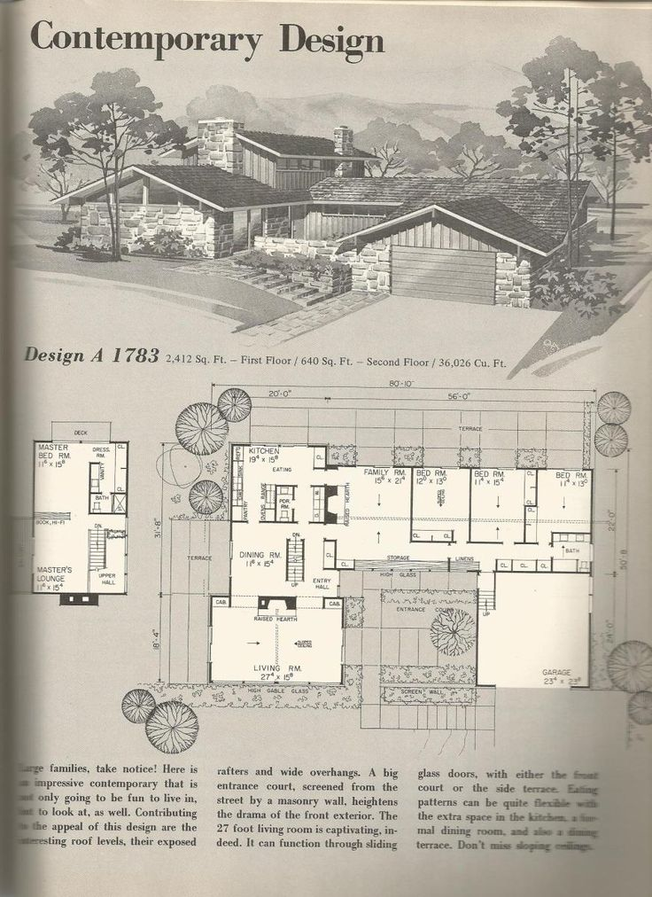 Mid century modern home design plans for Modern plan