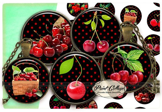 Cabochon images Digital Collage Sheet  Cherries  by PrintCollage