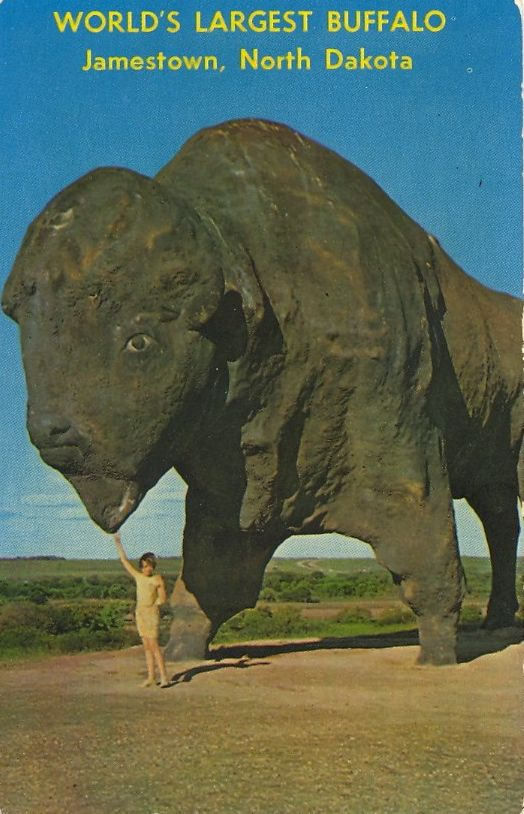 Replica of the once famous Buffalo which roamed the great Dakota prairie. Erected by the City of Jamestown, N.D. and the Chamber of Commerce. The Buffalo is three stories high and has a weight of 60 tons.