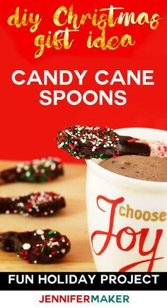 DIY Candy Cane Spoons make a great DIY #Christmas gift! We made these candy spoons for melting chocolate into our hot cocoa and coffee, and gave them as Christmas presents. Big hit!