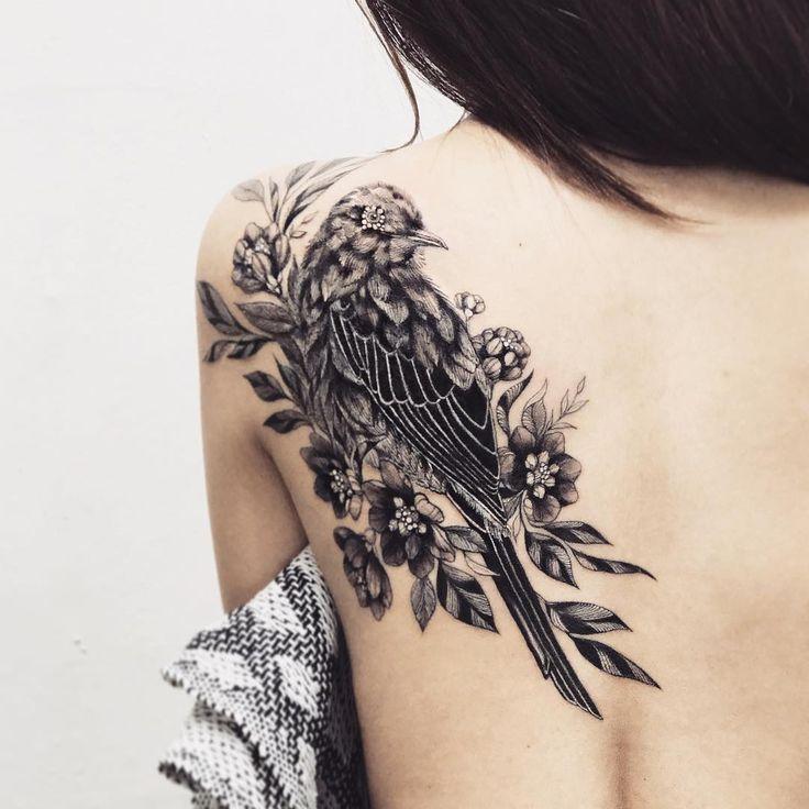 Cool bw bird shoulder tattoo idea