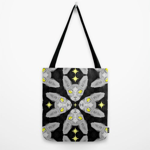 Sphynx Cat Black Pattern Tote Bag by chobopop | Society6