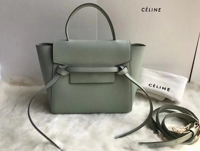 a6f0d8d411d3b 2018 Cheap Celine Nano Belt bag in grained calfskin Pastel Green ...