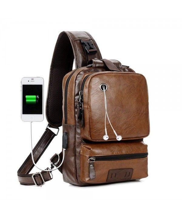 Men PU Leather Sling Shoulder Bag USB Charging Chest Pack Crossbody Handbag Tote