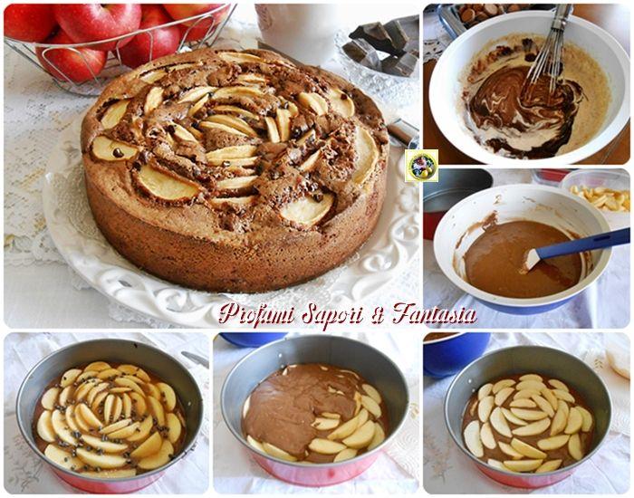 Torta di mele al cioccolato con amaretti  Blog Profumi Sapori & Fantasia