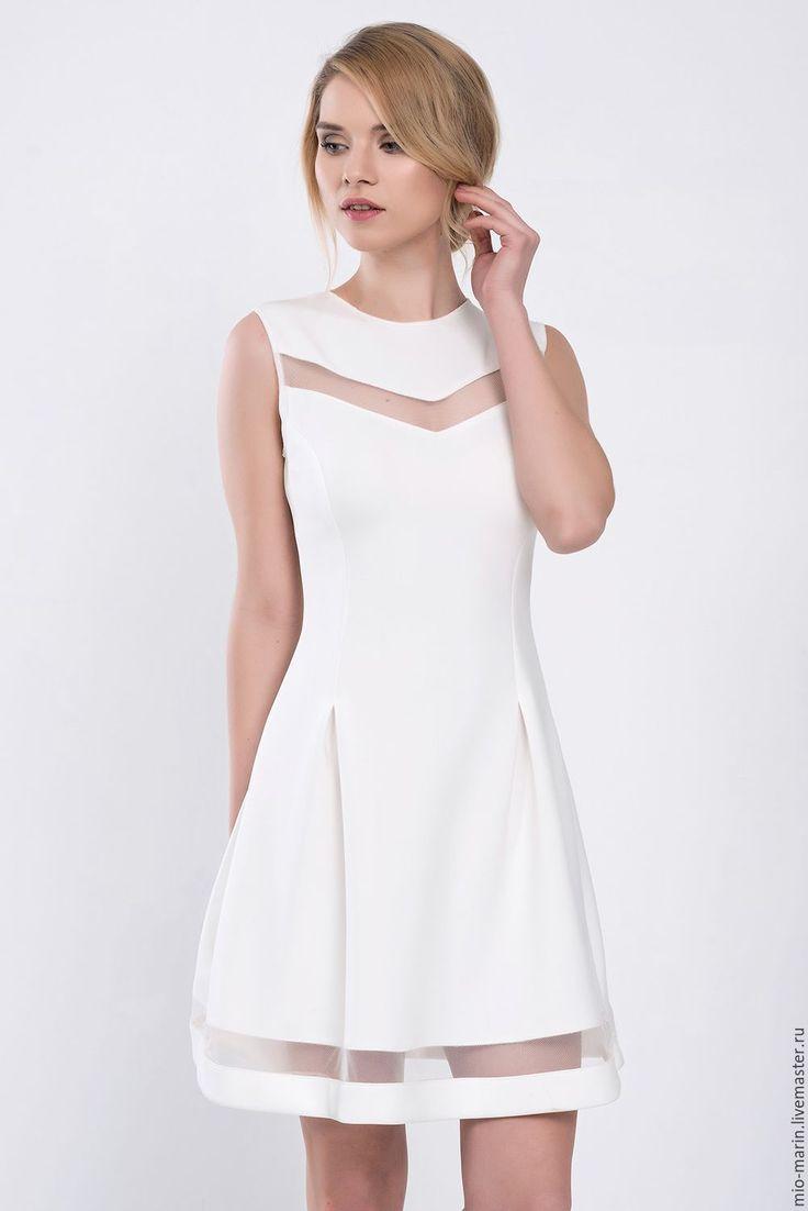 Evening dress / Белое платье вечернее нарядное коктейльное - стильное платье, короткое платье, платье миди